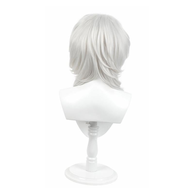 Anime Demon Slayer Kimetsu no Yaiba Rui Silver Curly Long Cosplay Wigs
