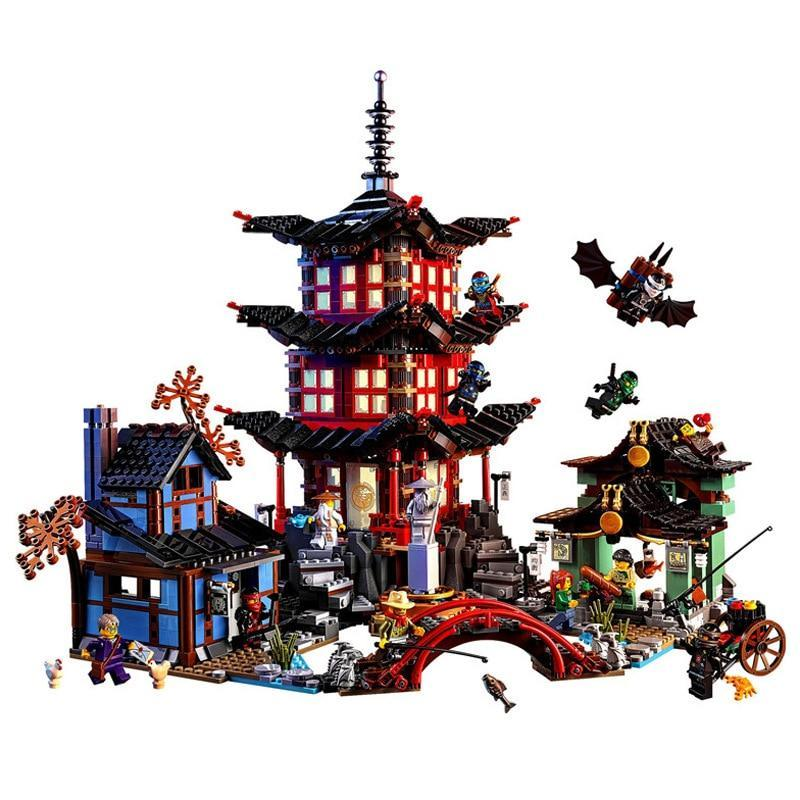 Diy Ninja Temple of Airjitzu Ninjagoes Smaller Version Building Blocks Set Compatible with Legoinglys Toy for Kids Bricks