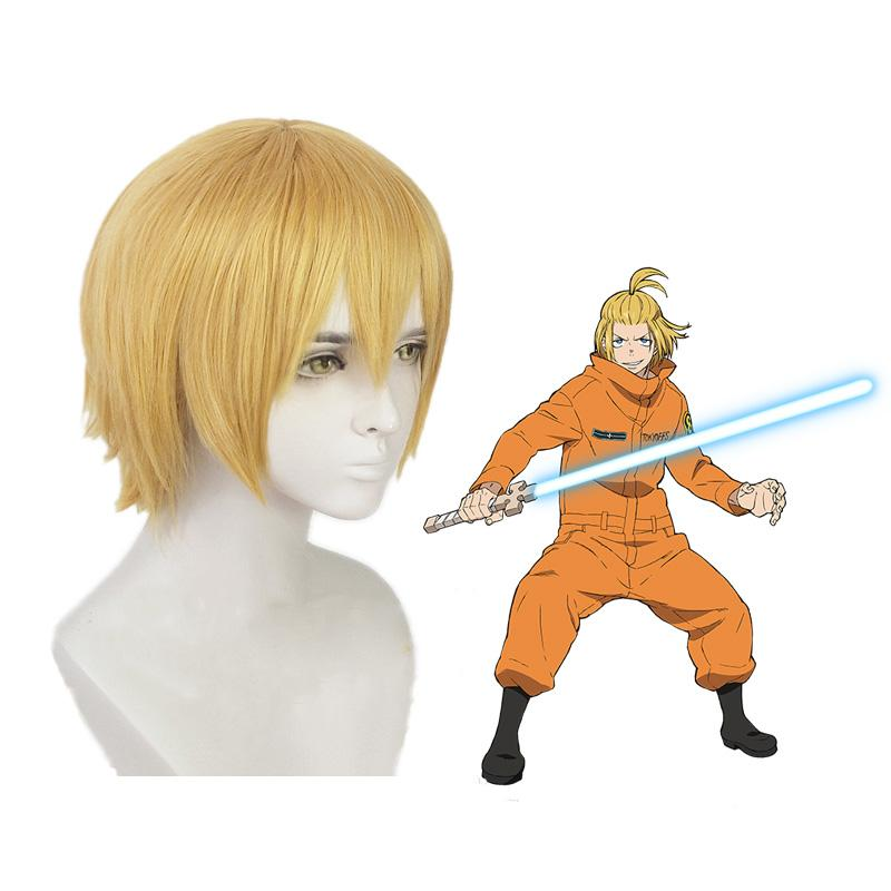 Anime Fire Force Arthur Boyle Short Blond Cosplay Wigs