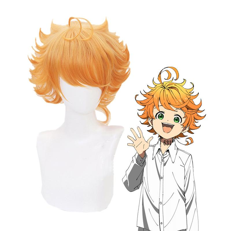 Anime The Promised Neverland Emma Short Orange Cosplay Wigs