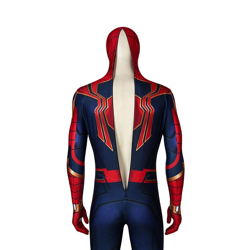 Movie Spider-Man: Far From Home Peter Parker Spiderman Jumpsuit Elastic Force Cosplay Costume with Headgear