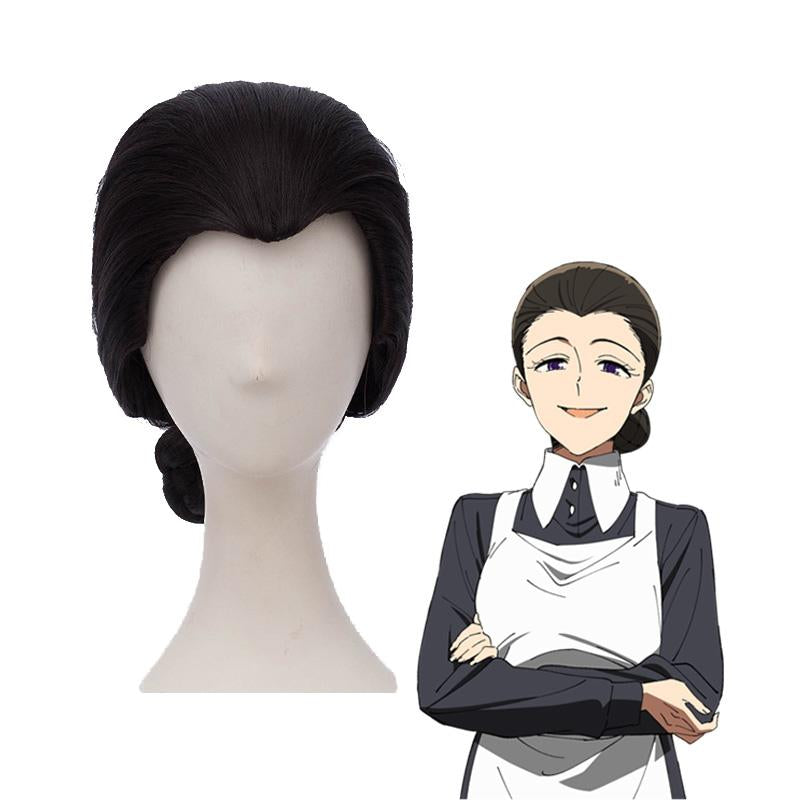 Anime The Promised Neverland Mama Isabella Short Black Cosplay Wigs