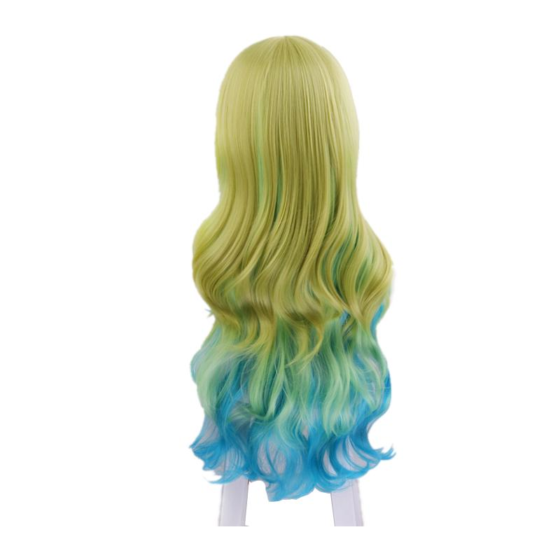 Anime Miss Kobayashi's Dragon Maid Lucoa Long Wavy Mixed Green Cosplay Wigs