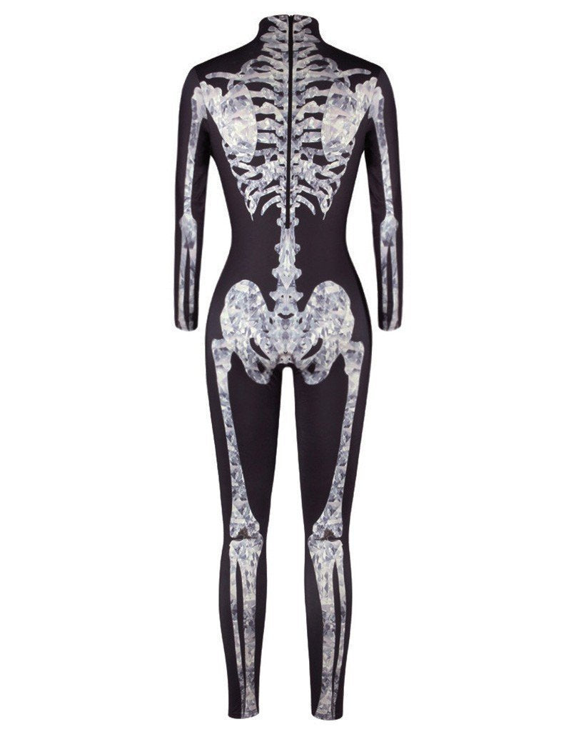 Skeleton Print Womens Halloween Catsuit Costume Party Jumpsuit