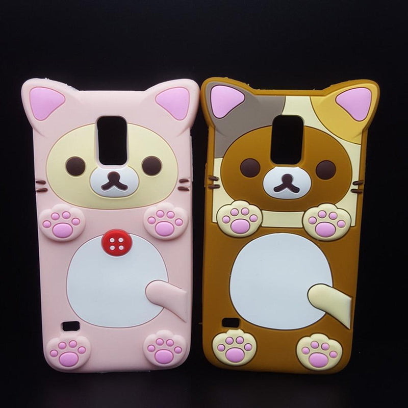 Cute Rilakkuma Bear Silicon Phone Case for Samsung Galaxy S5/S6/S7 Edge/Note 3/4/5/G530/J5