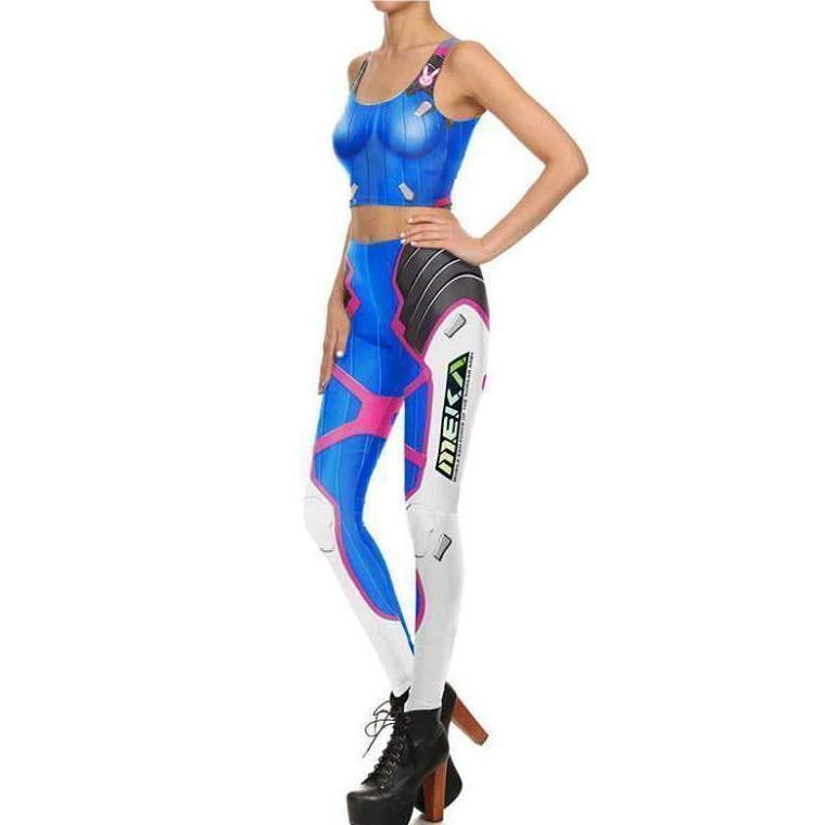 D.VA Overwatch Tank Top and Tights Cosplay Set