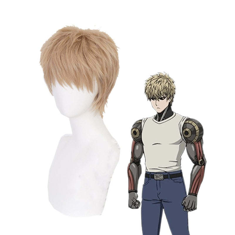 Anime One Punch Man Genos Demon Cyborg Short Khaki Cosplay Wigs