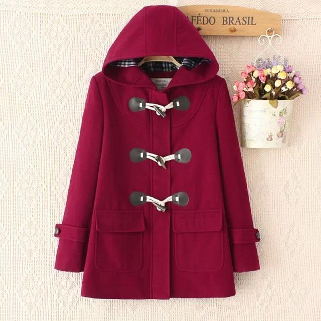 Harajuku Duffel Coat Horn Button Hooded Jacket [10 Colors]