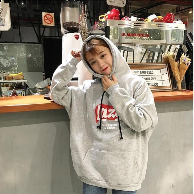 Harajuku Lazy Print Thick Hooded Sweatshirt [3 Colors]