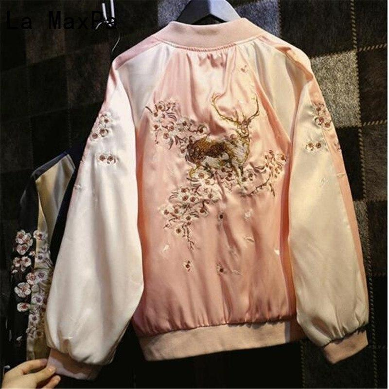 Harajuku Silk Deer Floral Embroidered Bomber Jacket [2 Colors]
