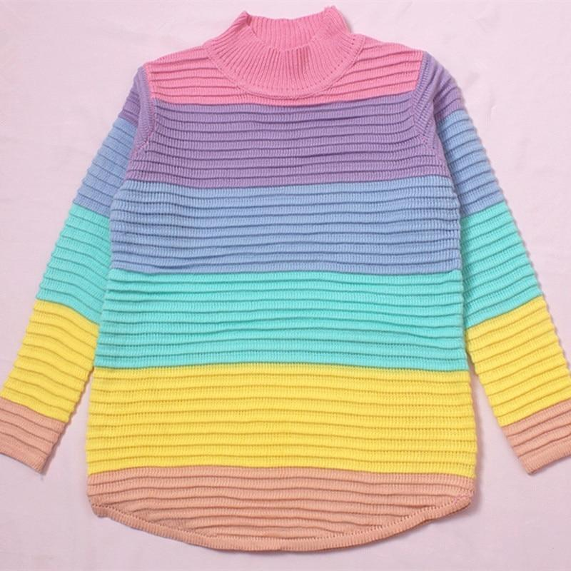 Harajuku Striped Rainbow Knitted Sweater