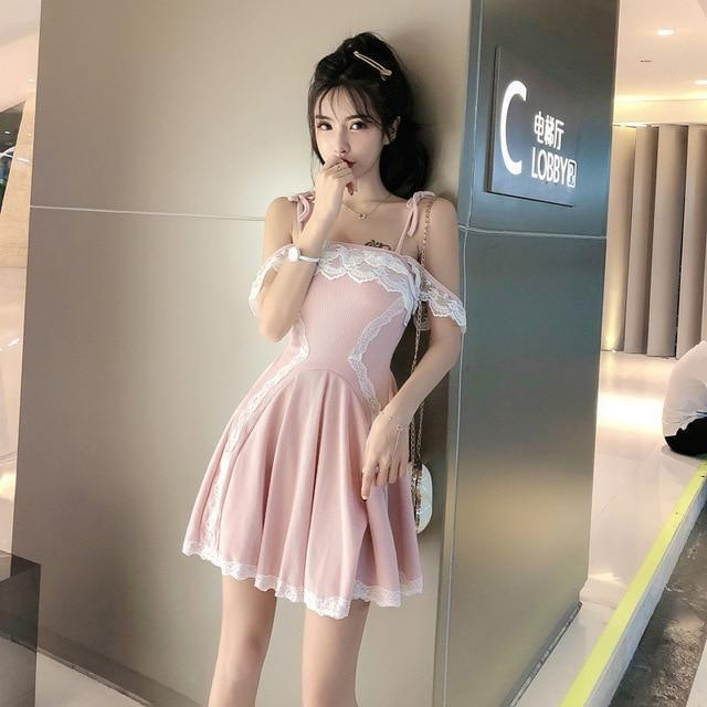 Japanese High Waist Lace Party Dress Kawaii Mini