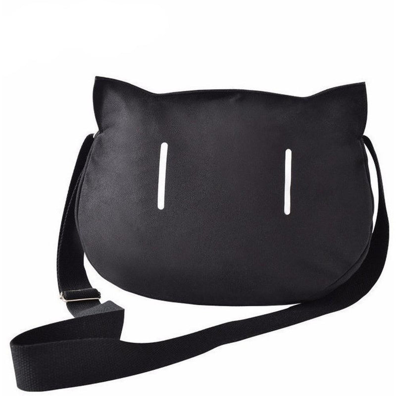 Jet Black Kawaii Cat Messenger Bag / Shoulder Bag