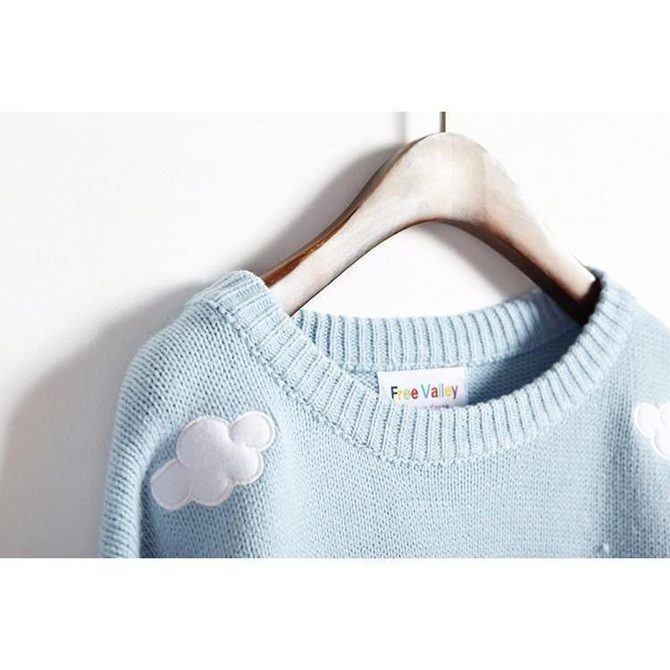 Kawaii Clouds Embroidered Long Sleeve Knitted Sweater [3 Colors]