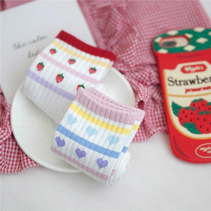 Kawaii Harajuku White Love Socks Heart/Strawberry Design [2 Styles]
