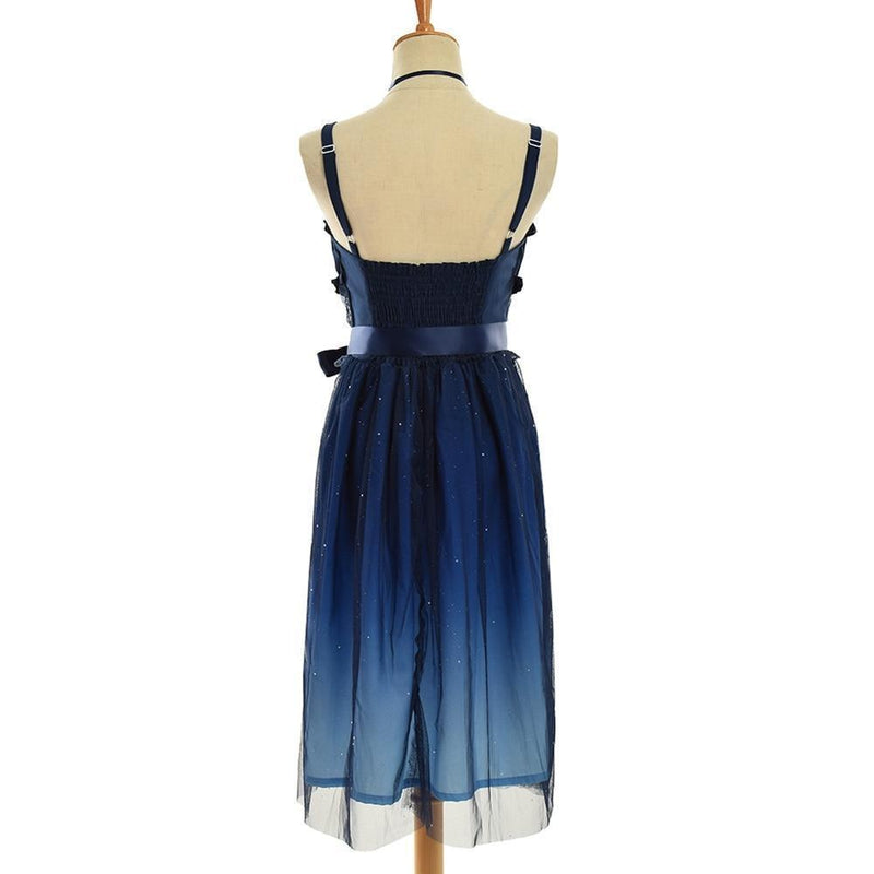 Kawaii Lolita Style Starry Galaxy Fairy Dress Night Blue Gown & Blouse [2 Styles]