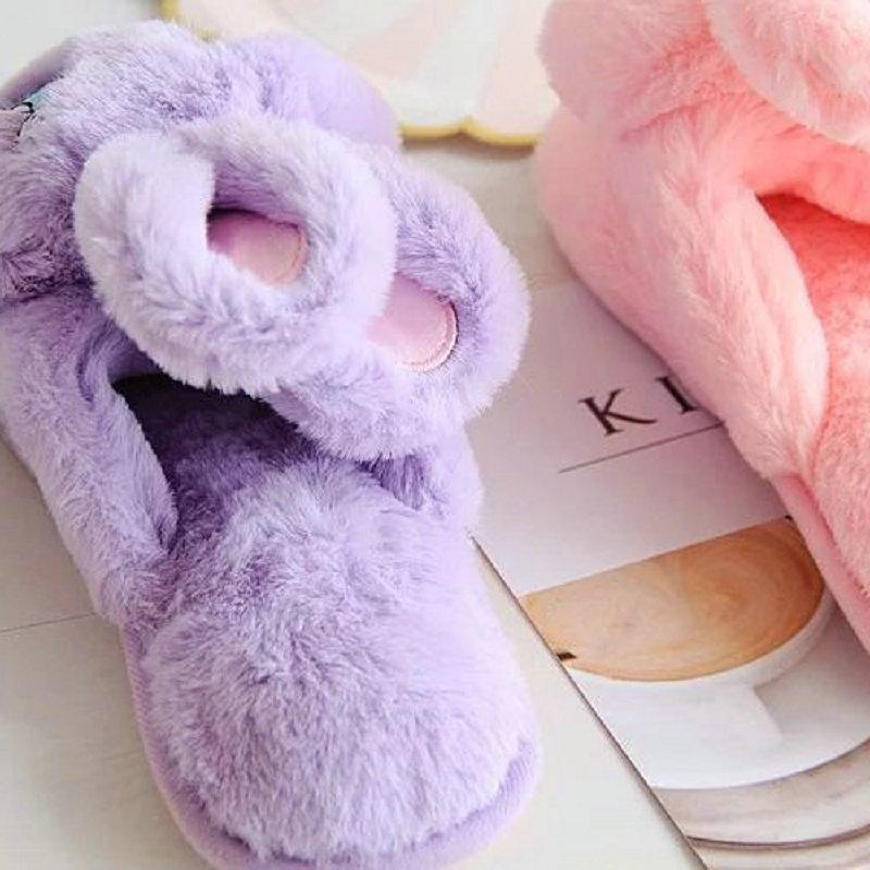 Kawaii Rabbit Plush Indoor Slippers [3 Colors]