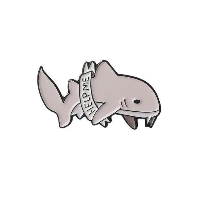 "Kawaii Shark Pins ""I'm Very Tired"" Badges [4 Styles]"