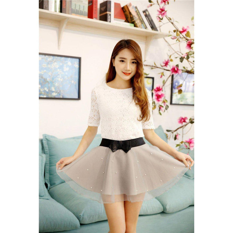 Korean High Waist Pearl Tulle Skirt Kawaii Mini