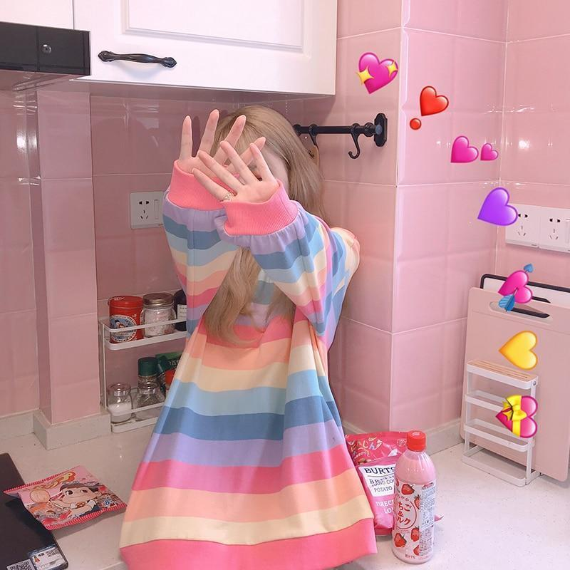 Korean Rainbow Striped Long Sleeve Sweatshirt Pastel Top
