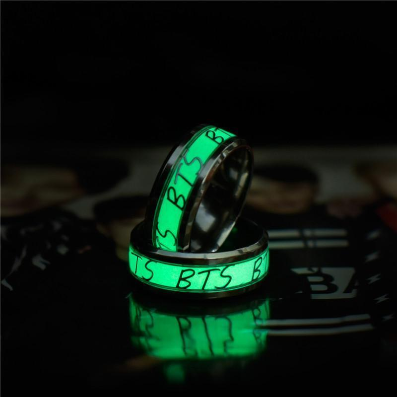 KPOP BTS Luminous Glow In The Dark Stainless Steel Ring