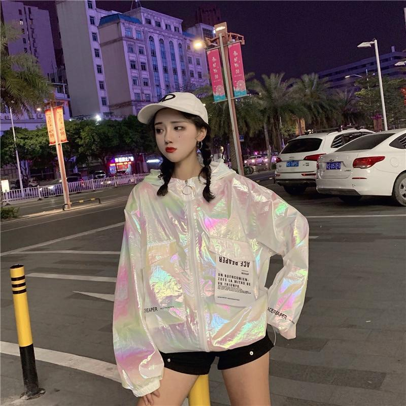 Loose Holographic Jacket Harajuku Long Coat