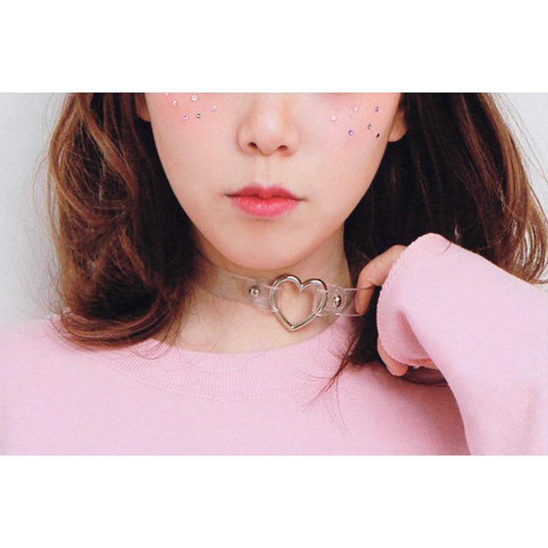 Menhera Yami Kawaii Goth Heart Ring Choker [10 Colors]