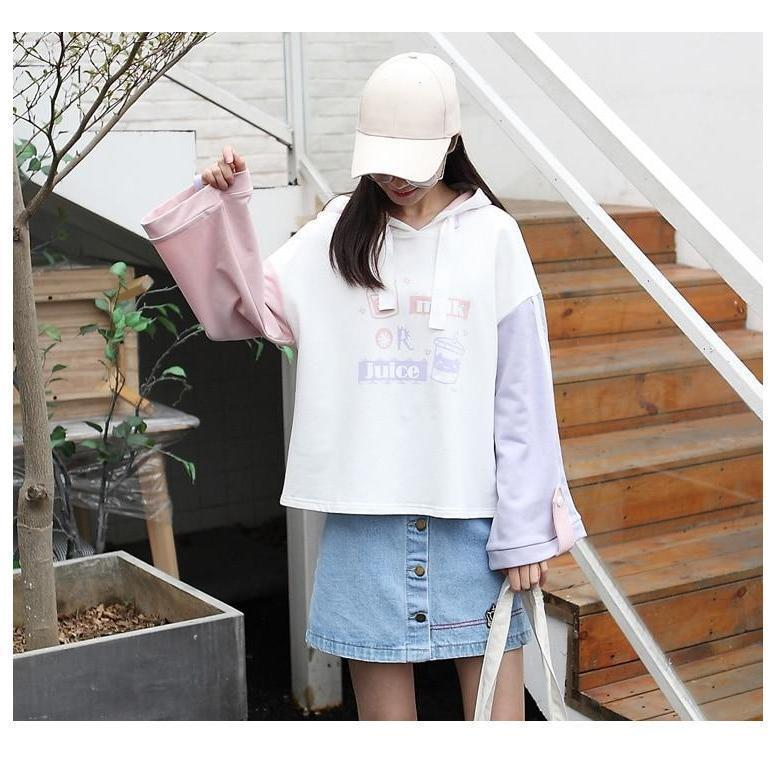 Milk or Juice Pastel Hoodie Kawaii Sweater
