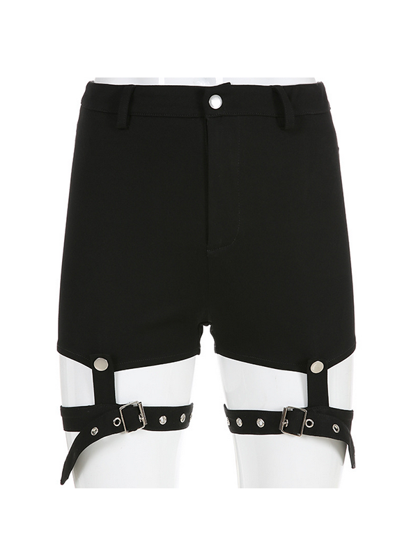 Casual Shorts Elastic Hollow Fashion Buckle Cotton