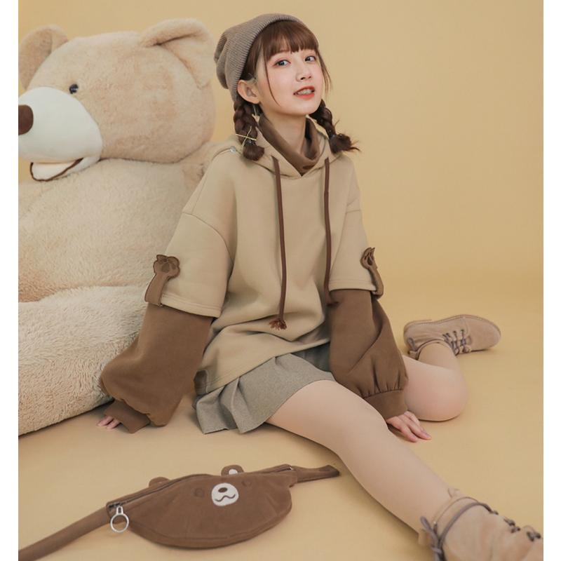 Bear Detachable Bag Fake Two-Piece Hoodie
