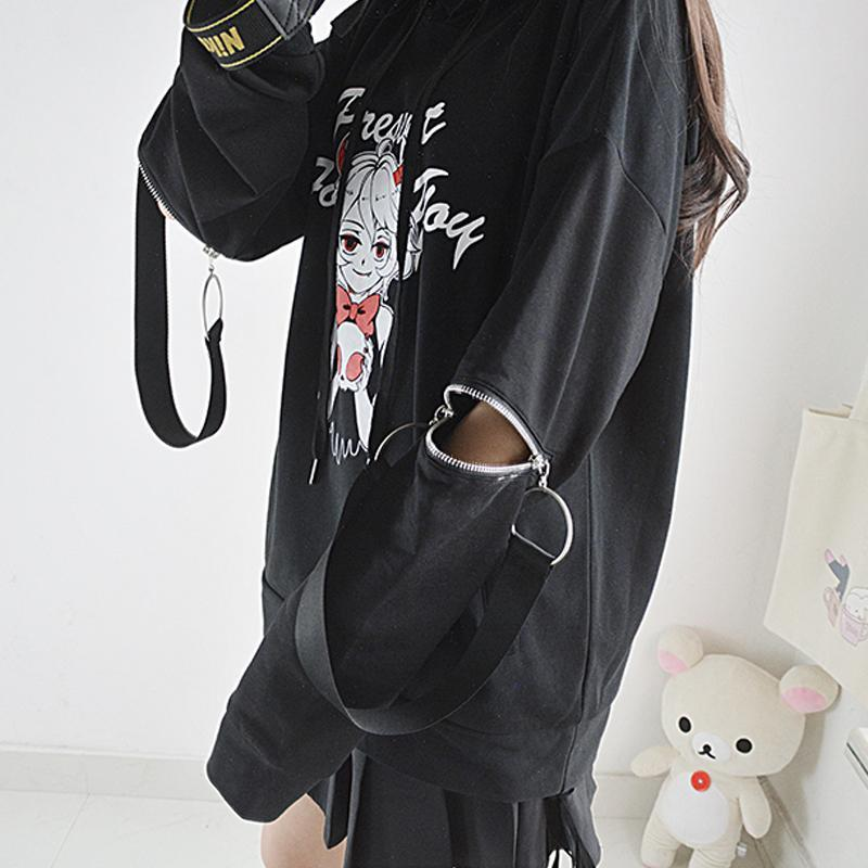 PRESENT FOR YOU Letter Little Devil Zipper Hoodie