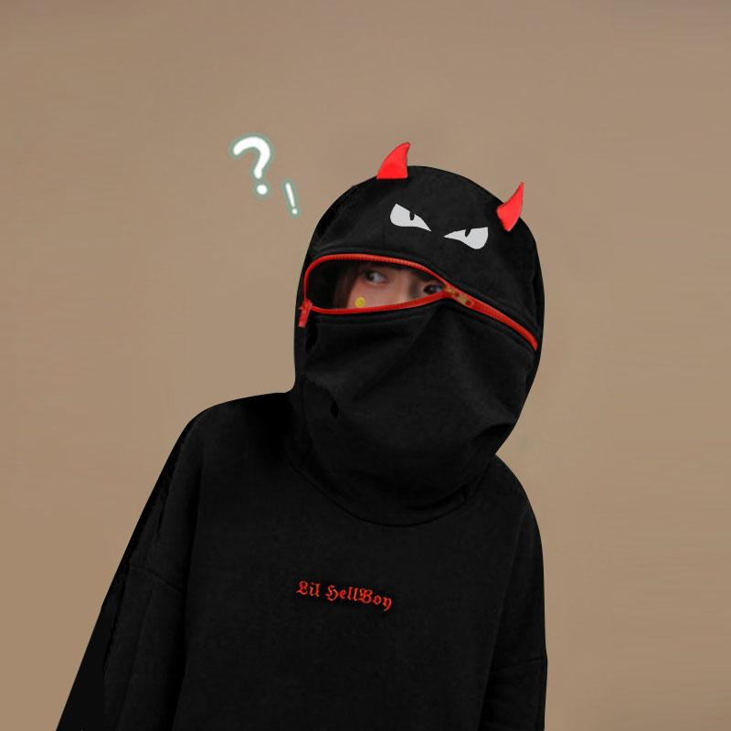 Demon Zipper Pocket Oversized Hoodie LIL HELLBOY Letter Embroidery