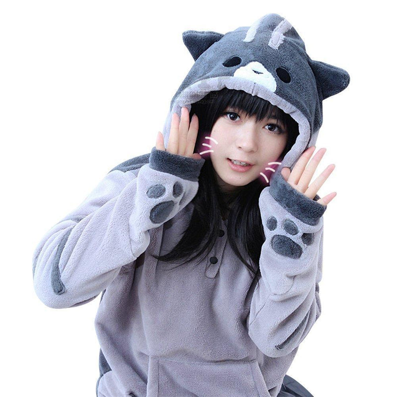 Neko Atsume Cat Ears And Tail Hooded Sweatshirt