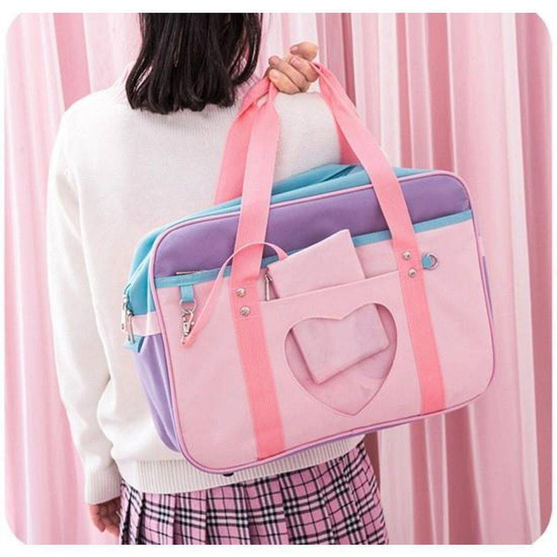 Pink Preppy Shoulder Bag Kawaii Canvas School Totes