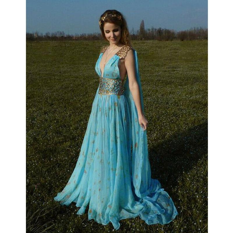 Hot Women Cosplay Costumes Dress Mother of Dragons Game of Thrones Daenerys Targaryen Maxi Dress Costume Party Clubwear Costumes