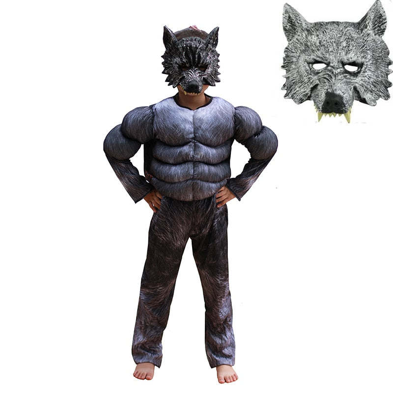 Kids Animal Werewolf Costume Cosplay Boys Halloween Carnival Wolf Cosplay Children School Performance Clothing Fancy Dress Suit