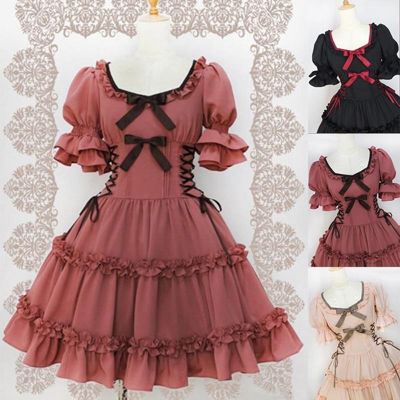 Umeko Sweet Lolita Midi Dress Ruffle Bow Bandage Puff Sleeve Square Collar Cosplay Party Dress Girl High Waist Ball Gown 2019