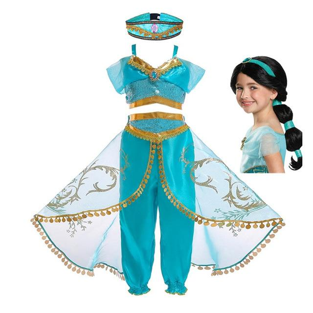 Christmas Halloween Party Girls Fancy Dress Aladdin's Lamp Princess Jasmine Cosplay Costume with Wig Hair and hat