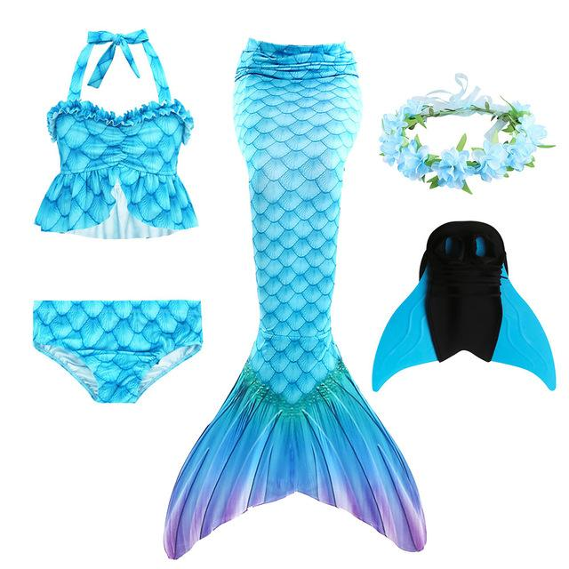 3pcs/Children Mermaid Tails For Swimming Girls Swimsuit  The Little Mermaid Ariel Bikini Set Bathing Suit Party Cosplay Costumes