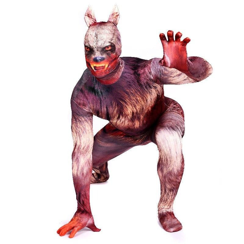 Halloween Purim Adult Werewolf Costumes Spandex Anime SuperHero Cosplay full red outfit Costume Zentai Suits Bodysuit