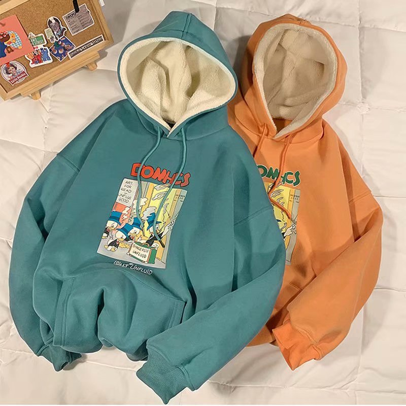 Winter Hoodies Women Unisex Fashion Chic Harajuku Pullover Tops Loose Casual Streetwear Simple Female Sweatshirts Lamb Down Cap