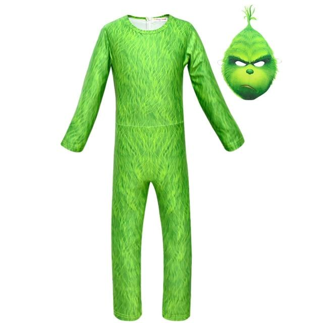 How The Grinch Stole The Grinch Cosplay Costume for Kids Halloween Girls Boys Grinch Cartoon Jumpsuit Christmas Gift