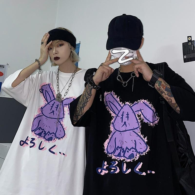 Punk Gothic Purple Bunny T-Shirt Loose Harajuku Top