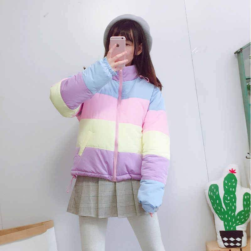 Rainbow Parka Harajuku Stripe Coat