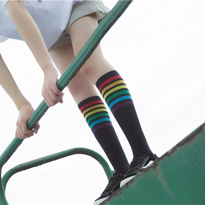 Rainbow Striped Knee High Socks [2 Colors]
