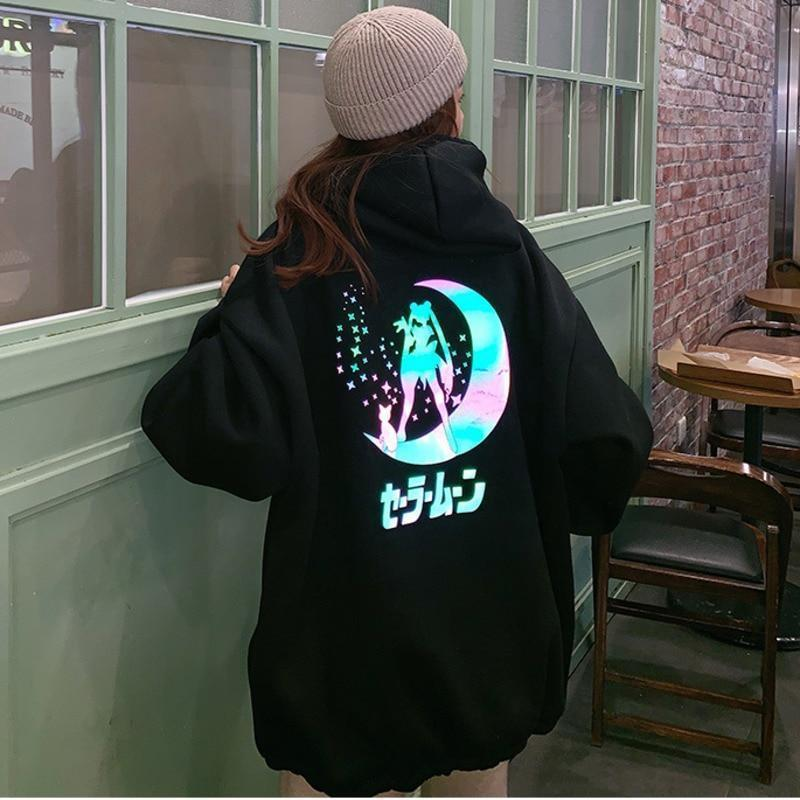 Reflective Oversized Sailor Moon Hoodie Kawaii Sweatshirt