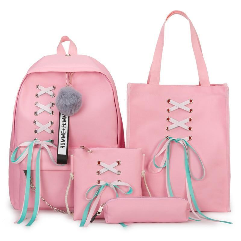 Ribbon Bow Canvas School Backpack 4 Piece Set [4 Colors]