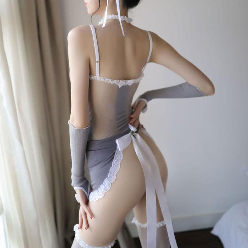 Sexy Maid Gray See Through Mesh Lingerie Roleplay Costume
