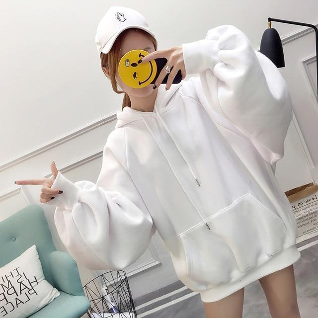Solid Pastel Oversized Hoodie Casual Long Sleeve Pullover