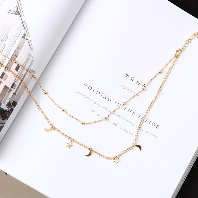 Star and Moon Pendant Layering Chain Choker Necklace [2 Colors]
